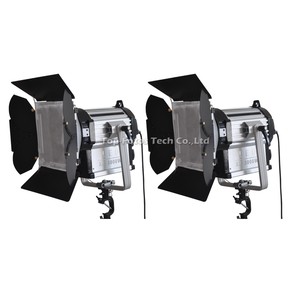 ALUMOTECH 2 pcs 300W LED Fresnel Dimmable Bi color Wireless Remote Spotlight for video studio