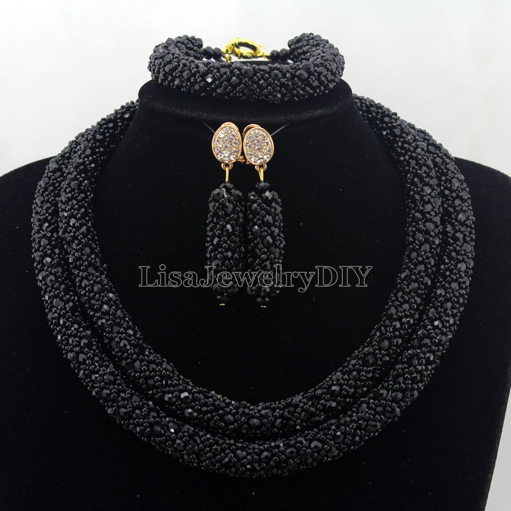 Splendid Statement Necklace African Jewelry Set African Crystal Jewelry Set for Wedding Statement Necklace Jewelry HD7410 nylon rope alloy statement necklace set