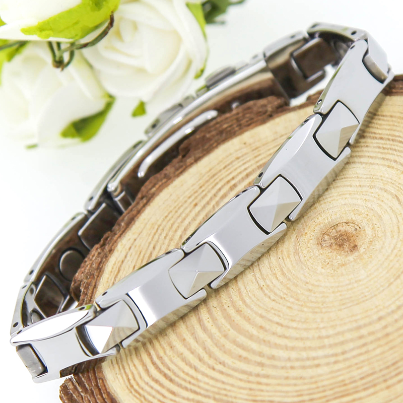 2017 New Arrival ! Pure Tungsten Steel Men's Health Healing Magnetic Germanium Bracelet Energy Bracelets Bangles For Men
