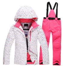 Free shipping Waterproof sportswear women clothing, winter ski wear hoodie jacket with trousers snow jacket and pants