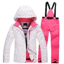 Free shipping Waterproof sportswear women clothing winter ski wear hoodie jacket with trousers snow jacket and