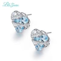 L & zuan 925 Sterling Silver 5.36ct Natural Topaz Blu Pietra Eleganti Orecchini di Clip Per La Donna Regalo