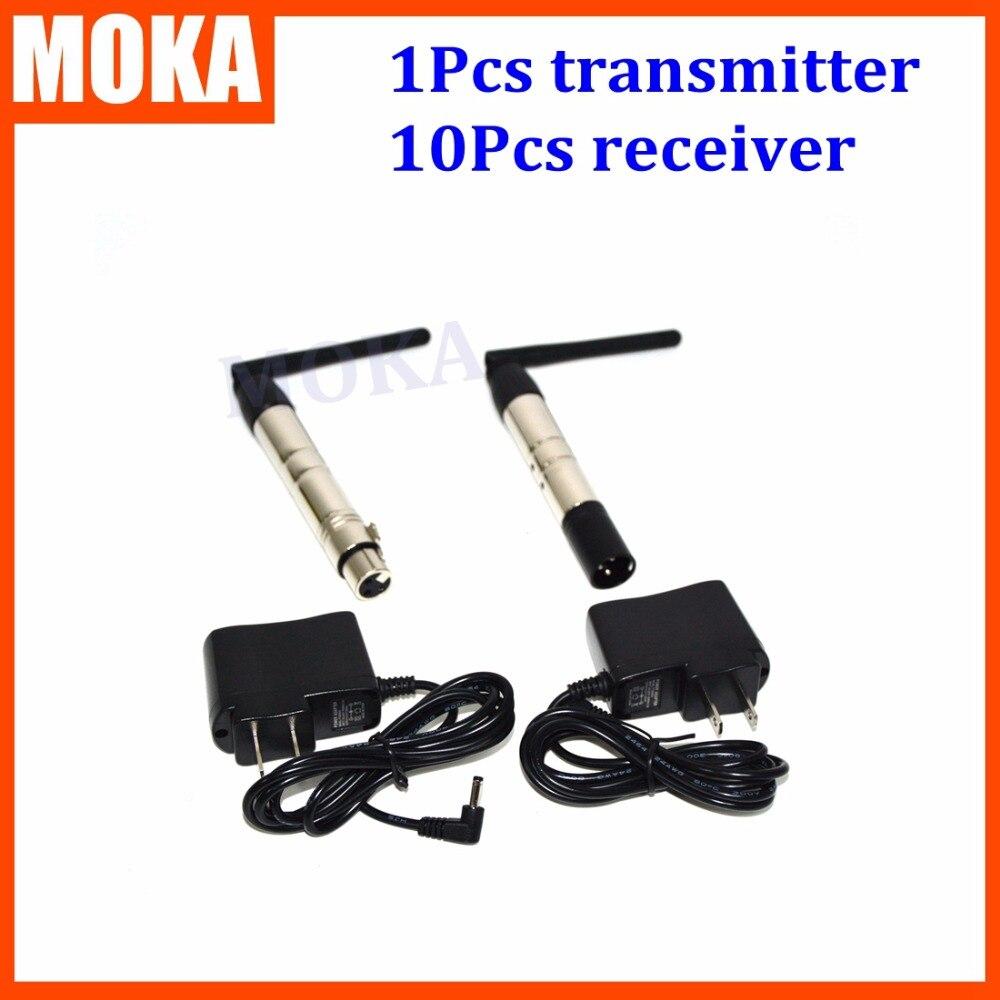 11 pcs/lot émetteur et récepteur dmx sans fil dmx sans fil sans fil dmx 512 transmetteur pour lumière par