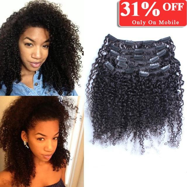 Kinky Curly Clip In Human Hair Extensions Mongolian Virgin Hair Clip