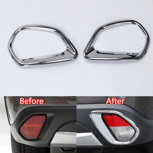 YAQUICKA 2x Car Rear Back Tail Fog Light Lamp Trim Covers Sticker Frame Fit For Mitsubishi Outlander 2016 Car-styling ABS Chrome