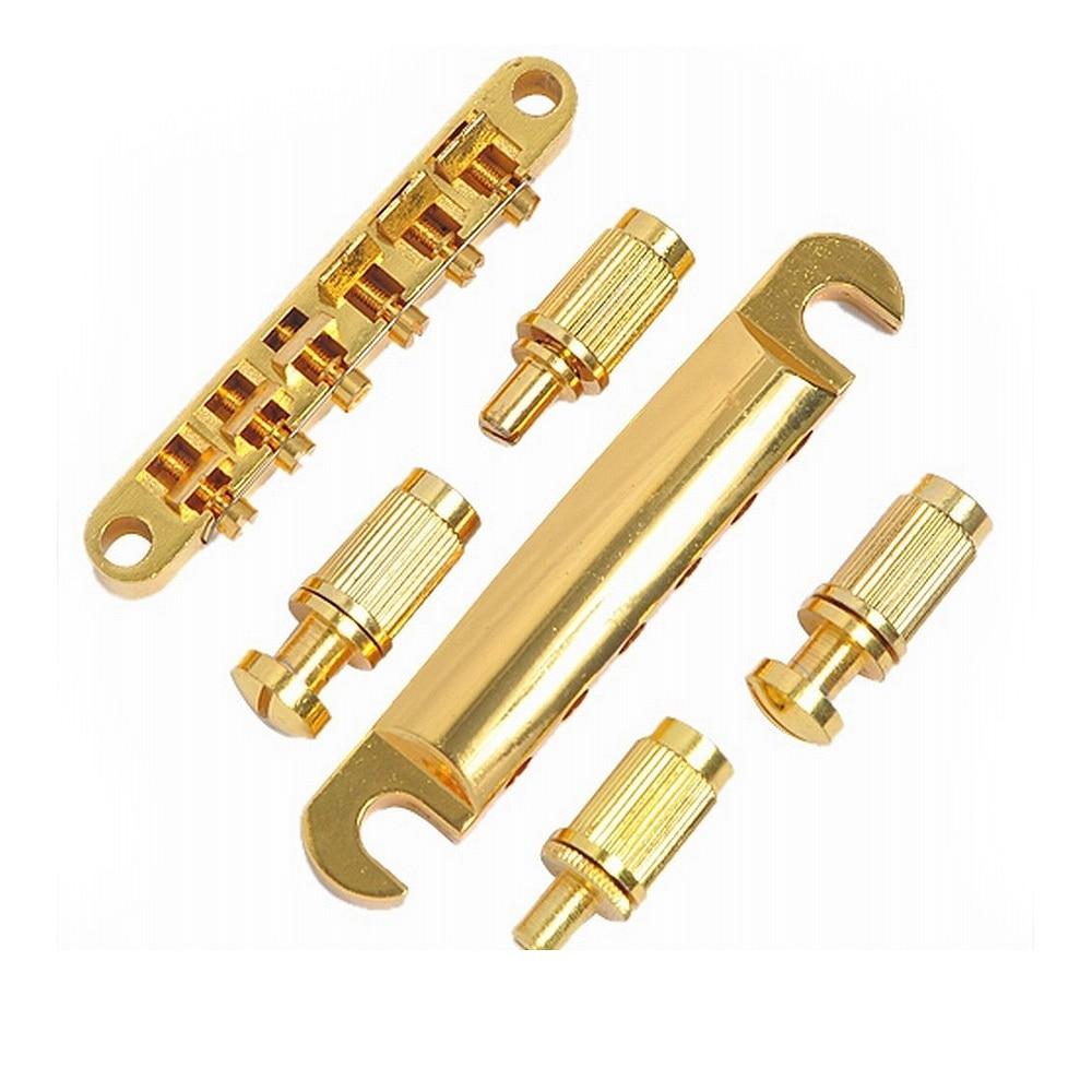 guitar bridge locking roller tune o matic tom bridge and tailpiece gold set for lp electric. Black Bedroom Furniture Sets. Home Design Ideas