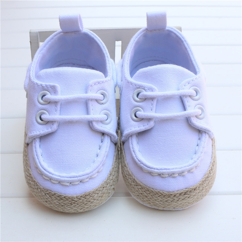 New Spring Autumn Toddler First Walker White Baby Shoes Boy Girl Soft Sole Crib Lace Can ...