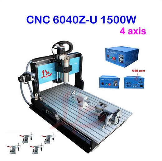USB port!! 3D cnc router 6040 4 axis cnc milling machine with 1.5kw spinlde,limit switch,ball screw cnc engraver + 4 pcs clamps