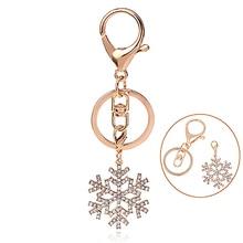 Women's Handbag Key Ring Charm Rhinestone Snowflake Pendant Keychain Gift