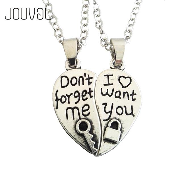 Broken heart couple pendant necklace for lovers silver key lock i broken heart couple pendant necklace for lovers silver key lock i want you fashion jewelry aloadofball Image collections