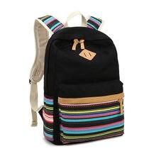 Молодежь симпатичные Рюкзак девушка mochila марка 2017 женщины сумка полосатый мешок школы бесплатная доставка