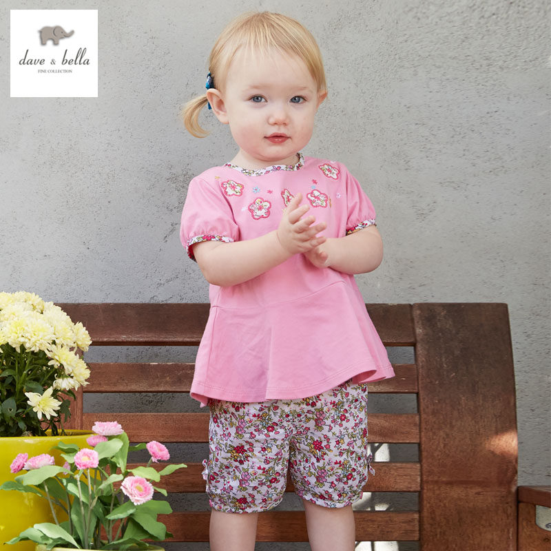 DB3192 dave bella summer baby girls floral sweet clothing sets bibi set infant clothes toddle cloth kids sets baby costumes
