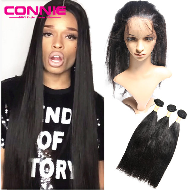 360 Lace Frontal Closure With Bundle Pre Plucked Raw Indian 360 Lace Virgin Hair Straight Human Hair Lace Frontal With Baby Hair
