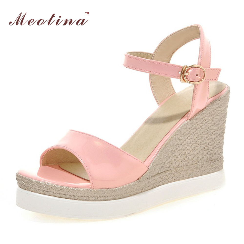 Female Summer Shoes Platform Sandals Wedge Heels Patent Leather Sandals Shoes Bohemia Ladies Sandals White Beige