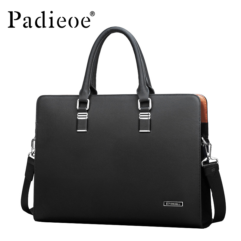 Padieoe Luxury Brand Genuine Leather Men Laptop Bag Briefcase Fashion Men's Business Bags Casual Leather Messenger Bag for Men