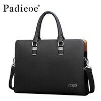 Padieoe Luxury Brand Genuine Leather Men Laptop Bag Briefcase Fashion Men's Business Bags Casual Leather Messenger Bag for Men