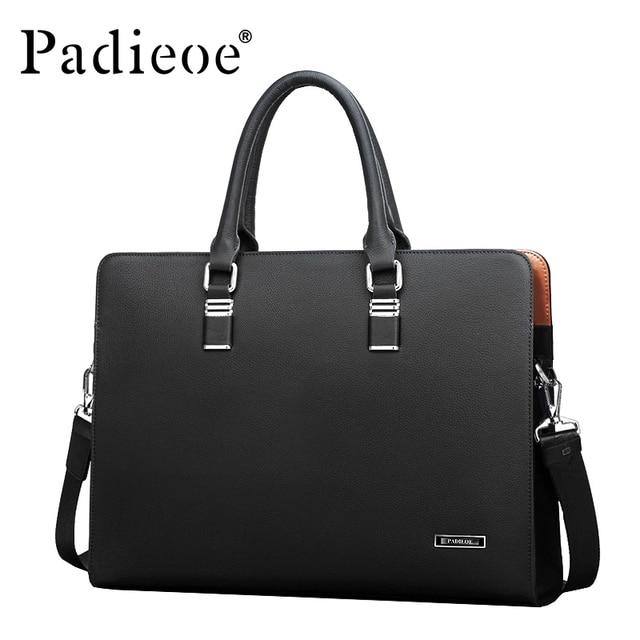 150c7c7d7f2b9 Padieoe الفاخرة العلامة التجارية جلد أصلي للرجال حقيبة لابتوب حقيبة الأزياء الرجال  حقائب عمل عارضة الجلود