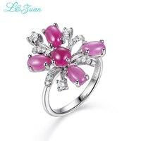 L & Цзуань 925 стерлингов Серебряные ювелирные изделия Кольца Ювелирные украшения цветок Дизайн Рубин красный камень кольцо для Для женщин по