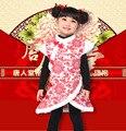 Envío libre de estilo tradicional chino del Qipao del Cheongsam traje del partido vestido acolchado chaleco de la princesa vestido del cabrito ropa de algodón