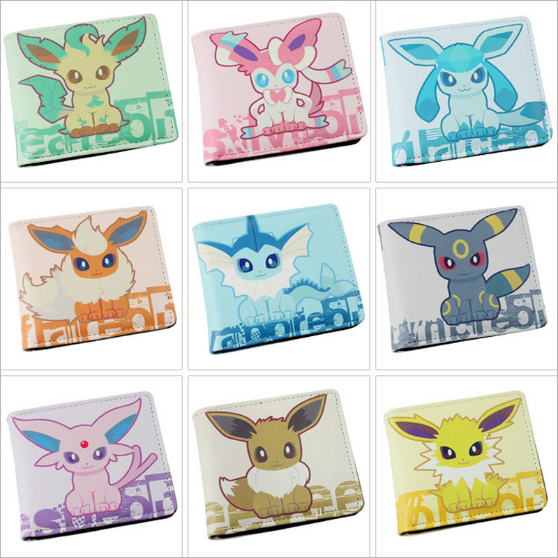 Eevee Colorful PU Purse W-Anime Pocket Monster Poke Ball Pikachu Wallet pokemon go print purse anime cartoon pikachu wallet pocket monster johnny turtle ibrahimovic zero pen pencil bag leather wallets