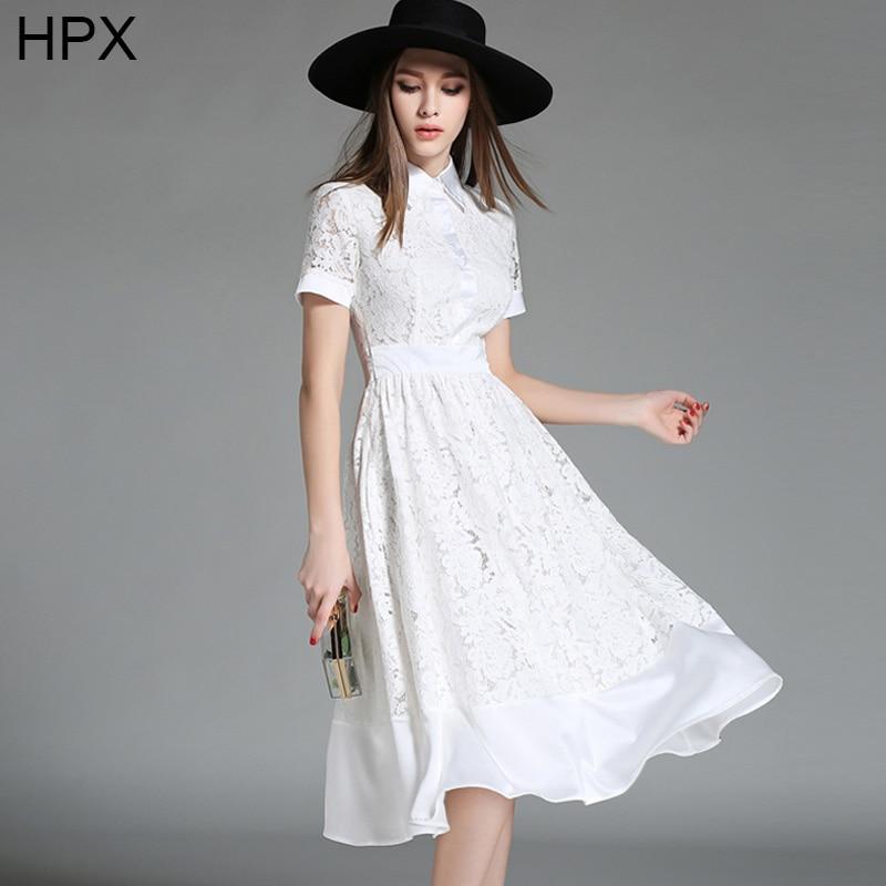 White Lace Knee Length Dress 2016 Spring Autumn New Women ...