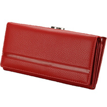 New Fashion Envelope Women Wallet Hasp Solid 100% Genuine Leather Wallet Long Coin Purse