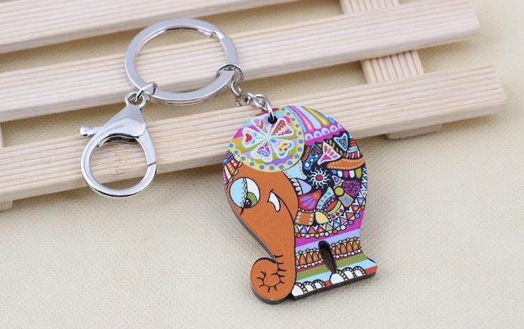 Colorful Acrylic Elephant Keychain