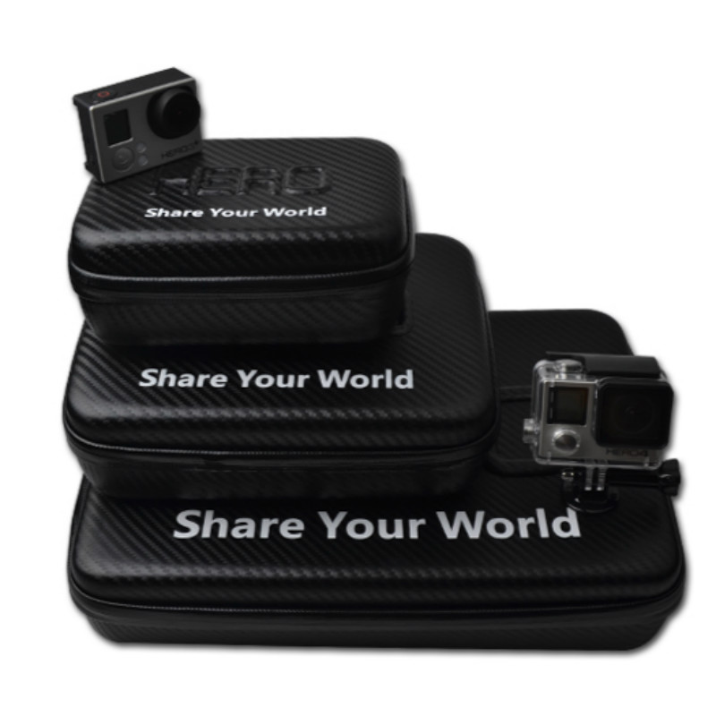 Tekcam for gopro hero 4 accessories Carbon Fiber Waterproof Travel Camera Case Bag for GoPro Hero 5/4/3+/3/2 SJCAM Xiaomi yi 4K