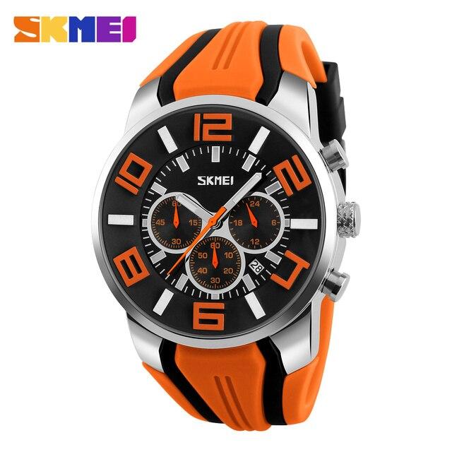 SKMEI Новый Шесть Контактный Мужчины Кварцевые Аналоговые Спортивные Часы Мода Повседневная Секундомер Дата Водонепроницаемый мужские Часы