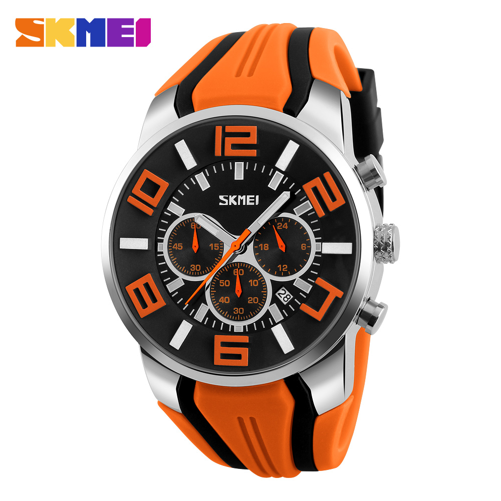 SKMEI New Six Pin Men Quartz Analog Sport Watch Fashion Casual Stop Watch Date Waterproof Men's Watches Relogio Masculino skmei 2017 new popular brand men watches fashion analog quartz watch 50m waterproof auto date black dials quality leather starp