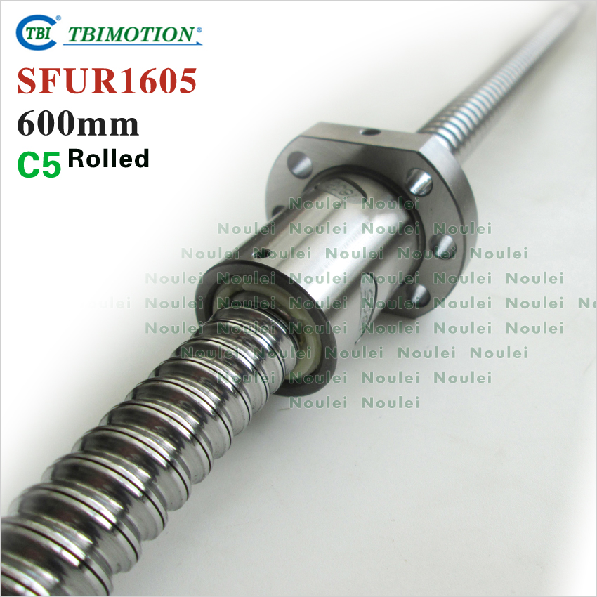 TBI SFU 1605 Rolled Ball screw C5 600mm with Ballnut  SFU1605 For CNC Machine tbi ball screw 2005 c7 1000mm with 5mm lead without flange ballnut bsh2005 for cnc kit backlash