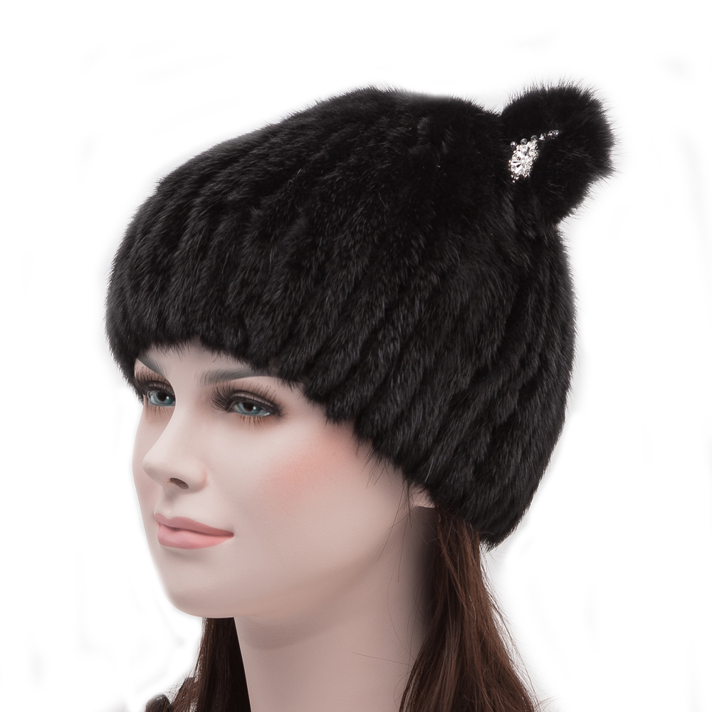 knitted mink fur hat real mink fur hats for women winter warm fur caps female russian beanies hat brand new women's fur hat