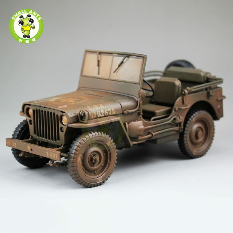 1:18 1/4 Ton US ARMY WILLYS JEEP TOP DOWN Diecast Car Model Welly Brown willys jeep 1 10