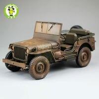 1:18 1/4 طن لنا الجيش يليز جيب أعلى أسفل دييكاست نموذج سيارة اللعب welly البني