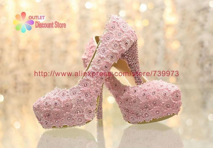 c8e086ab5a0ec Hot Sale 5 Inch Light Pink Lace wedding shoes sapato feminino bridal ...