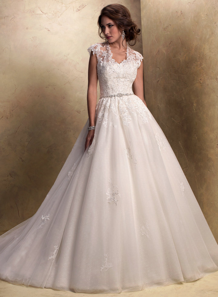 Short Sleeve Jacket Ivory Organza Lace Princess Ball Gown Wedding