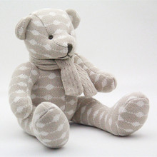 Knited Toy Organic Colored Cotton Bear Baby Toys Baby Doll Free Shipping