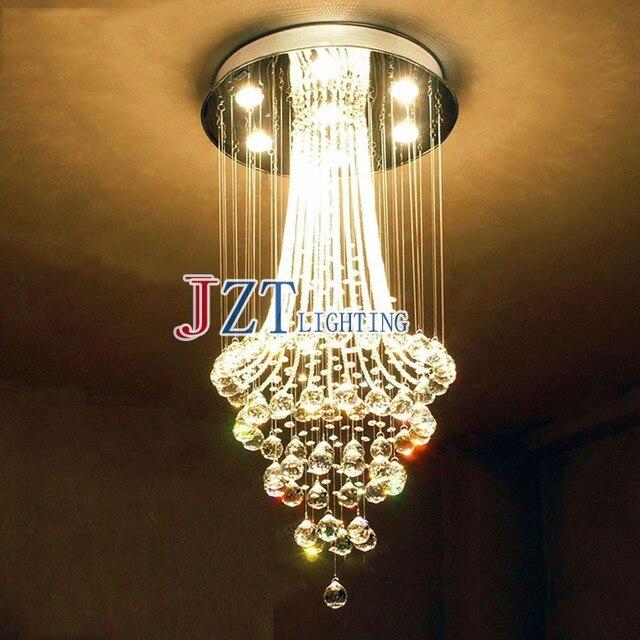 M European Luxury Long  Crystal Chandeliers Light Home Villa Foyer Stair Way Hotel Hall Restaurant Club Droplights D80cm*H1.6m