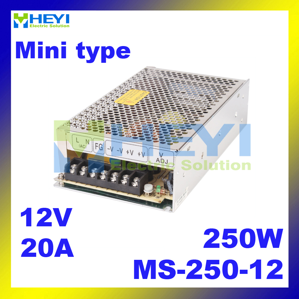 MS-250-12 ac dc mini size CE 250W Single output switching power supply 12v 20a ce rohs ms 50 24v ac dc mini size single output switching power supply from chines supplier