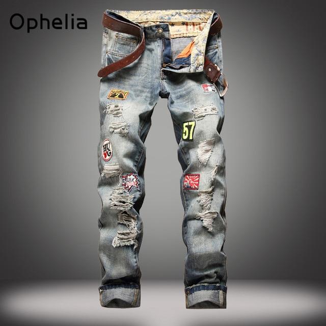 De alta calidad de los hombres pantalones vaqueros rasgados agujero Ocasional pantalones vaqueros Rectos de los hombres pantalones vaqueros de los hombres pantalones de Los Hombres de tendencia vaqueros Otoño Invierno