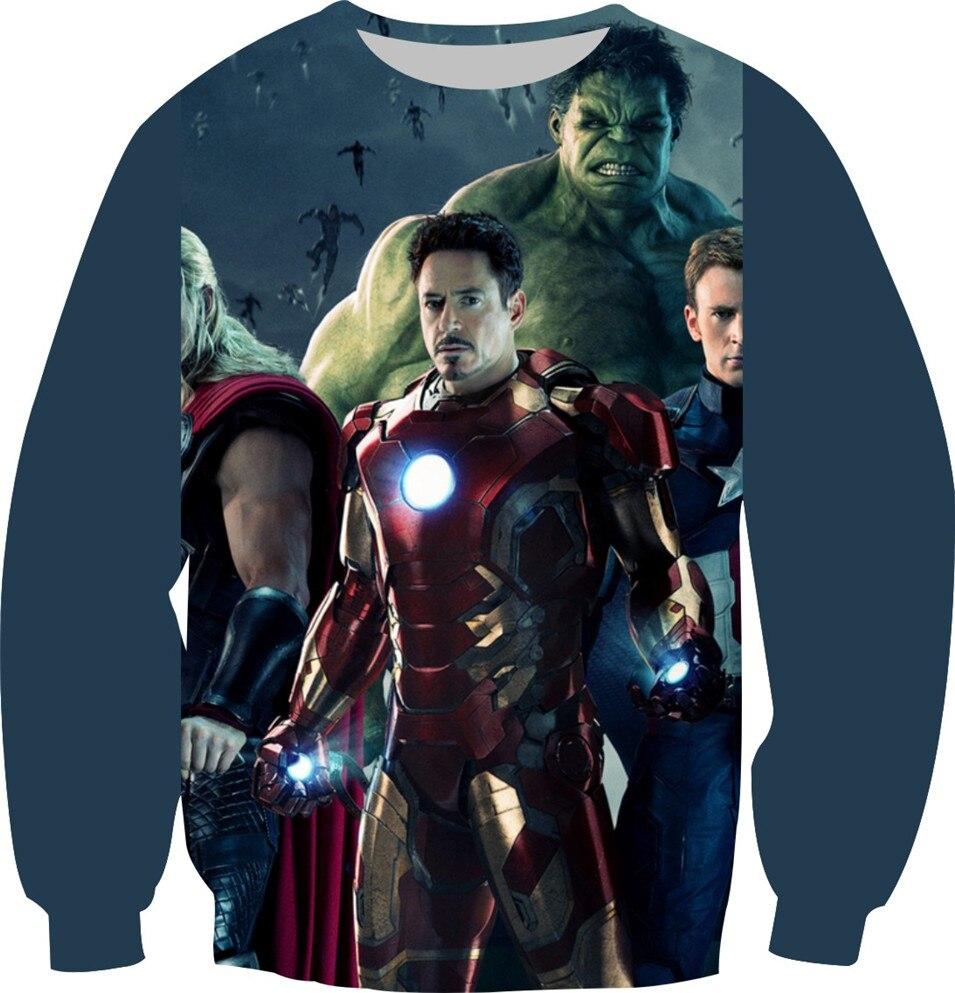 2018 Autumn Women Men 3D Sweatshirt Size XS-6XL Print Film Hero Logo Brand Design Hoodies Long Sleeve Inside Fleece Pullover