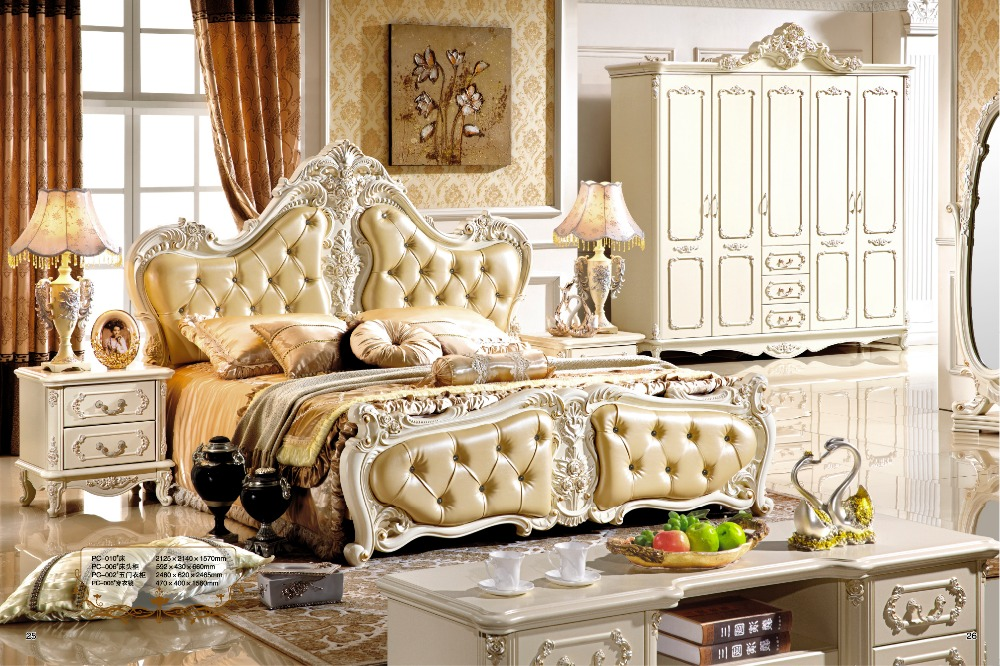 Luxury White French Style Hand Carved Wood Leather Bed Furniture 0407 008