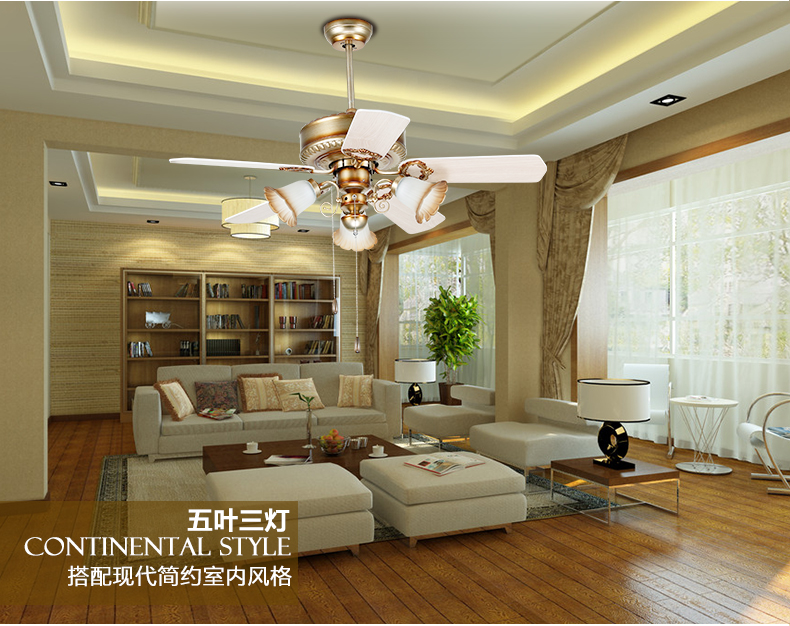 Ceiling Fans For Dining Area: European Retro Fan Light Ceiling Minimalism Modern Bedroom