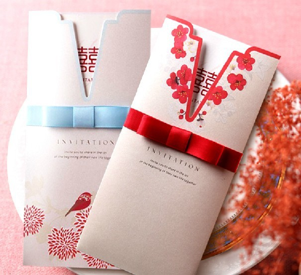 New Freeshipping Customized Chinese Style Creative Continental Upscale Wedding Invitations Card