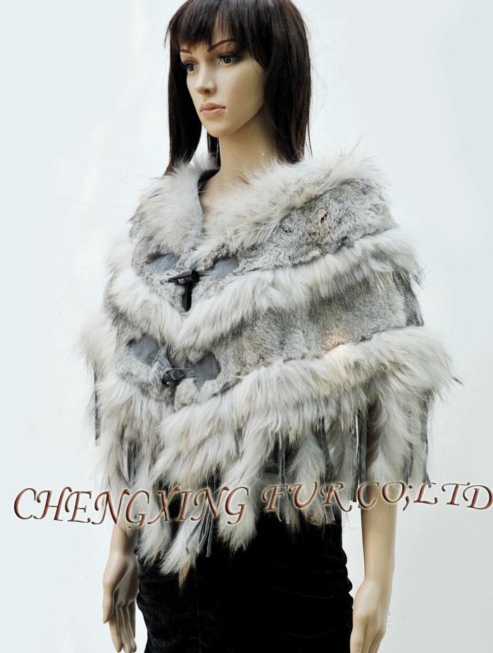 СХ-б-41б настоящее кролика натуральный цвет волос отделка изысканный кролика рог кнопку пончо для дам