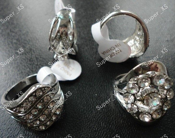 8 шт. модные многоцветные кольца с серебряным покрытием из горного хрусталя для женщин ювелирные изделия партия LR156