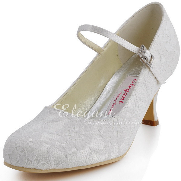 Woman Shoes Wedding Bridal White Ivory Closed Toe Med Block Heel Comfort Mary Jane Lace Bride Lady Satin Prom Party Pumps Hc1708usd 43 98 Pair