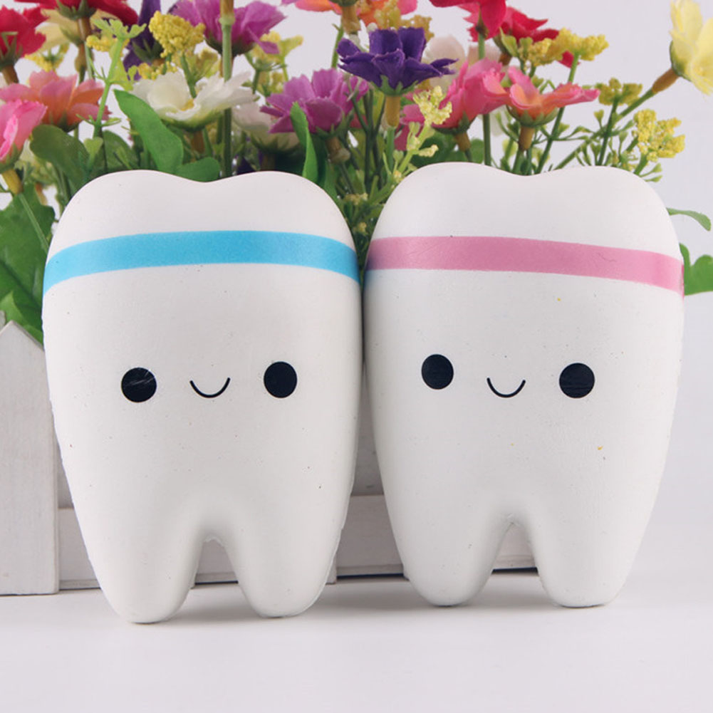 New 11cm Kawaii Tooth Jumbo Squishy Slow Rising Phone Straps Cartoon Teeth Blue Pink Tooth Bread