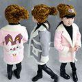 2 3 4 6 8 лет девочки зима clothing теплый флис куртка дети мультфильм моды верхняя одежда Шерсть и Смеси верхняя одежда пальто девушка