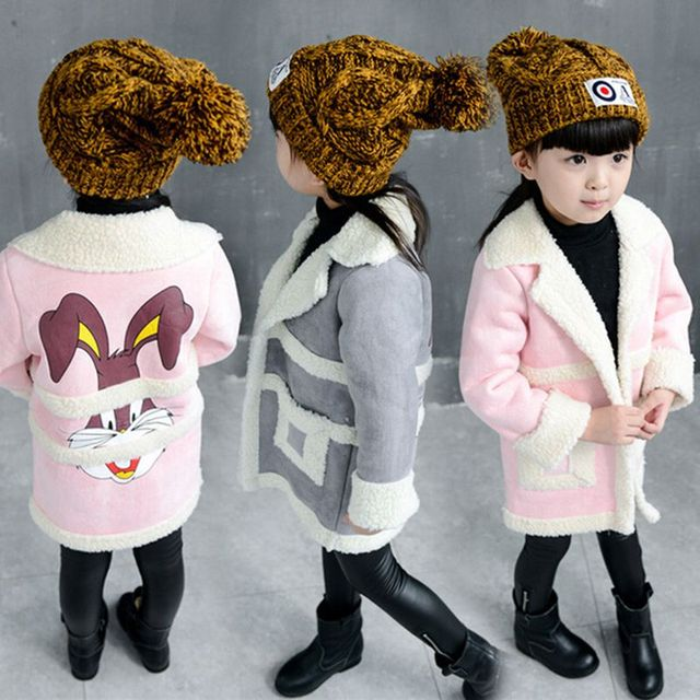 2 3 4 6 8 years girls winter clothing warm fleece jacket kids cartoon fashion outerwear Wool & Blends outerwear trench coat girl